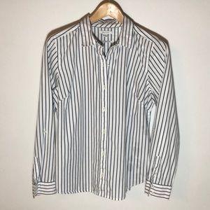 Nautica Black & White Striped Long Sleeves, L